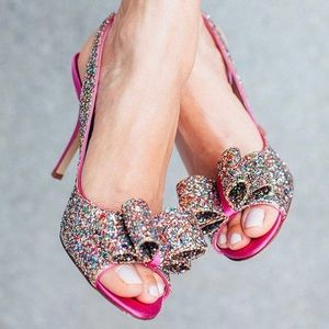 Kate Spade 'Charm' Glitter Bow Slingback Heels